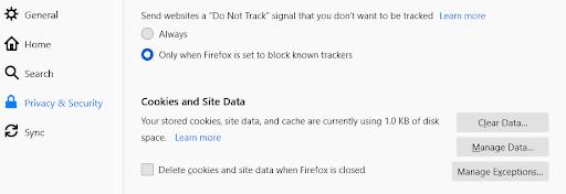 إعدادات ملفات تعريف الارتباط في فايرفوكس