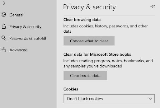 إعدادات ملفات تعريف الارتباط في مايكروسوفت إيدج
