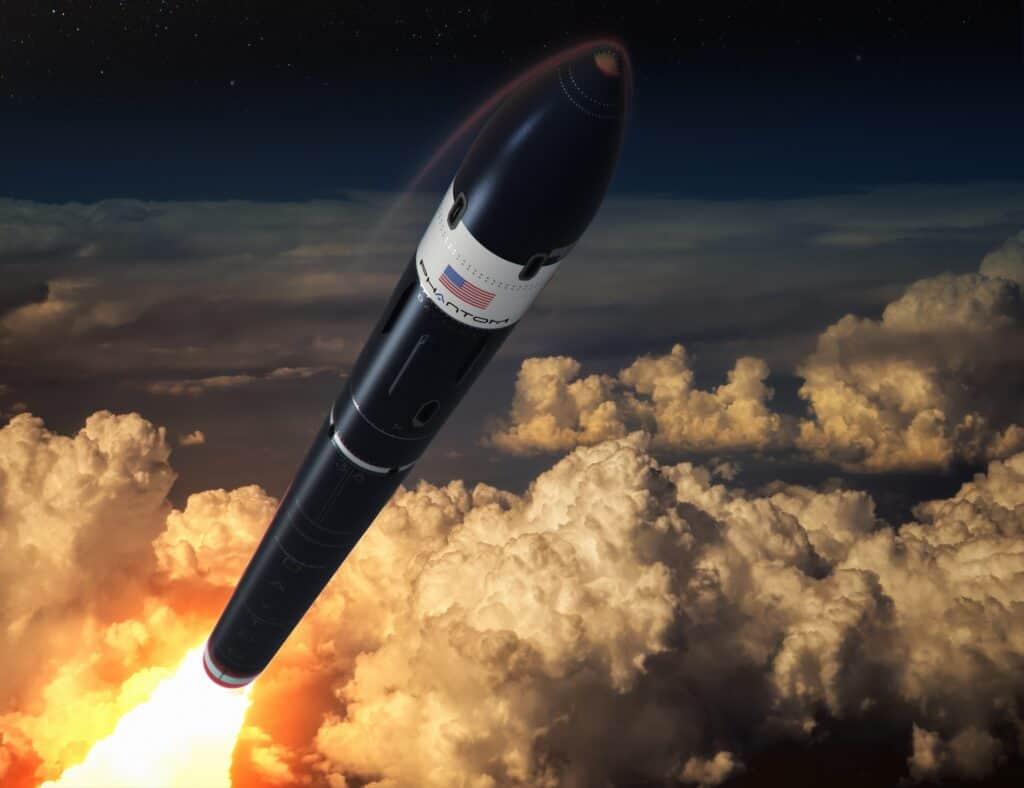 تصور فني لصاروخ دايتونا محلقاً إلى الفضاء
